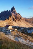 Dolomites mountain panorama in Italy at sunset — Stock fotografie