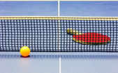 Equipment for table tennis - racket, ball, table — Stock Photo