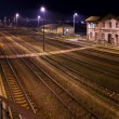 Stock Photo: Historic train station, at night