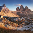 Stock Photo: Dolomites mountain in Italy at sunset - Tre Cime di Lavaredo