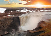Iceland waterfal at sunset - Dettifoss — Stock Photo