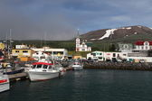 Icelandic Seaport: Boats for fishing and for whale watching tour — Stok fotoğraf
