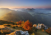 Beautiful sunrise in mountain valley - Slovakia — Stock Photo