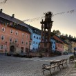 Banska Stiavnica - main square - Plague Column — Stock Photo