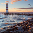 Lighthouse at Lake Neusiedl at sunset — Stock Photo #30378011