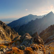 Stock Photo: Sunset in mountains view from Lomnicke sedlo in High Tatras, Slo