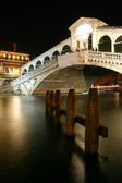 Along Rialto Bridge, Venice at Night — Stock Photo