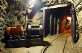 Historical gold, silver, copper mine with machine — Stock Photo