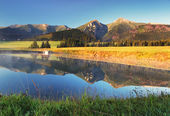 Mountain reflection in water - Belianske Tatry, Slovakia — Stock Photo