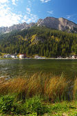 Misurina lake with Three Peaks in the evening — Stock Photo