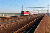 Passanger train station with train — Stock Photo