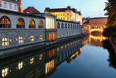 Ljubljana, Slovenia - Ljubljanica River and Central Market — Stock Photo