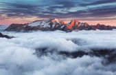 Mountain Marmolada at sunset in Italy dolomites at summer — Stock Photo