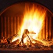 Stock Photo: Fireplace with fire