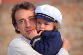 Young boy Wearing Navy Sailor Hat — Stock Photo