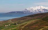 Landspace Islanda con il fiordo e montagna — Foto Stock