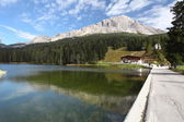 Lake Misurina in Italy mountain dolomites — Stock Photo