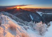 Winter sunset in mountain with cloud - Slovakia — Stock Photo