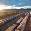 Railway at sunset with cargo trains. — Stock Photo