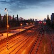 Train railroad at night — Foto Stock