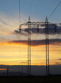 Electricity pylon on sunset — Foto de Stock