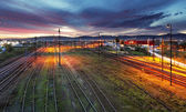 Railroad track at night — Foto Stock