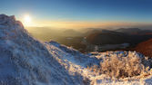 Beauty mountains from peak Strazov — Stockfoto
