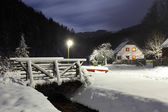 Wintry landscape with chalet. — Stock Photo