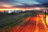 Západ slunce nad železniční — Stock fotografie