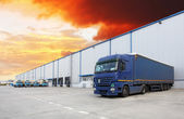 Truck, warehouse building — Stock Photo