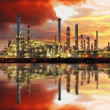 Stock Photo: Oil refinery industrial plant at night