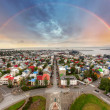 Reykjavik cityspace with rainbow — Stock Photo #38699803