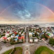 Stock Photo: Reykjavik cityspace with rainbow