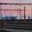 Railway Tracks at a pink colorful sunset — Stock Photo