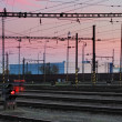 Stock Photo: Railway Tracks at a pink colorful sunset