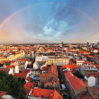 Stock Photo: Zagreb cityspace with rainbow