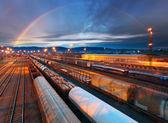 Train Freight transportation platform - Cargo transit — Stock Photo