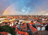 Zagreb cityspace with rainbow — Stock Photo