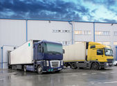 Cargo truck at warehouse building — Stock Photo