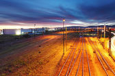 Railroad track at night — Stok fotoğraf