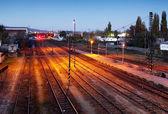 Tren del ferrocarril en la noche — Foto de Stock