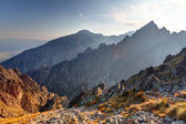 Sunset in mountains in High Tatras — Foto Stock