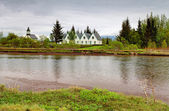 White Church in Thingvellir National park - famous area in Icela — Stock Photo