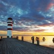 Lighthouse at Lake Neusiedl at sunset — Stock Photo #45012283