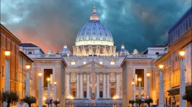 Vatican, Rome, St. Peter's Basilica, Time lapse — Stock Video