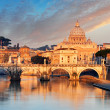 River Tiber, Ponte Sant Angelo and St. Peter's Basilica — Stock Photo #46935269