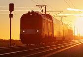 Trein lading in spoorweg — Stockfoto