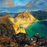 Beach, mountain landscape Norway - Lofoten — Stock Photo #48428799