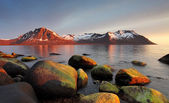 Sunset in Norwegian coast,Senja — Stock Photo