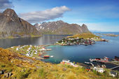 Norway village in sea, Lofoten — Stock Photo